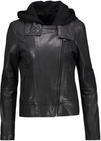 Mackage Leather hooded biker jacket