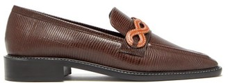 Fabrizio Viti - Forever Lizard-effect Leather Loafers - Womens - Dark Brown