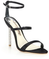 Sophia Webster Rosalind Embellished-Heel Satin Sandals