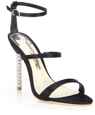 Sophia Webster Rosalind Embellished-Heel Satin Sandals