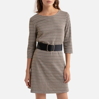 Only Checked Mini Dress with 3/4 Length Sleeves