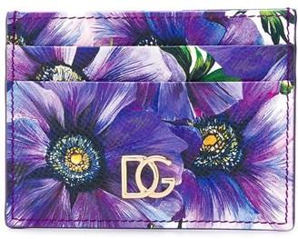 Dolce & Gabbana Flower Print Leather Cardholder