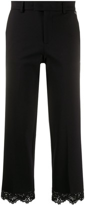 Twin-Set Lace-Trimmed Cropped Trousers
