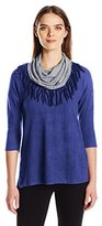 French Laundry Women's Dolman Sleeve with Marl Cowl Top
