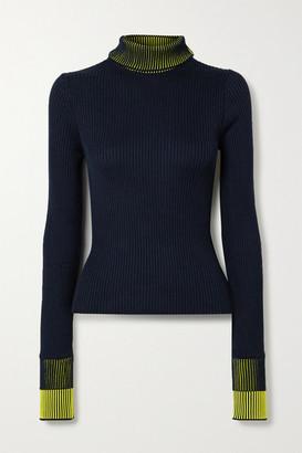 Maison Margiela Ribbed Cotton-blend Turtleneck Sweater - Navy