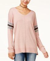 Hippie Rose Juniors' Stripe-Detail Tunic Sweater