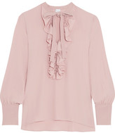 Iris and Ink Farrah Ruffle-Trimmed Crepe De Chine Blouse