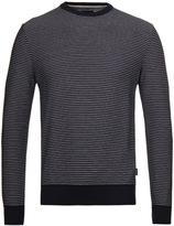 Barbour Reverse Stripe Navy Crew Neck Sweater