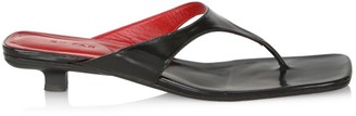 BY FAR Jack Kitten-Heel Leather Thong Sandals