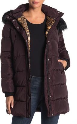 Laundry by Shelli Segal Downs Hooded Faur Fur Trim Puffer Coat