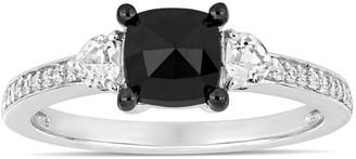 Lovemark 10k White Gold 1 1/10 Carat T.W. Black & White Diamond Engagement Ring