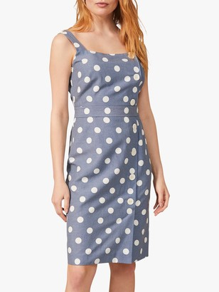 Phase Eight Amelia Button Detail Spot Dress, Chambray