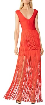 Herve Leger Tiered Fringe Gown