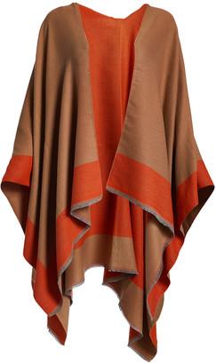 Dnmc DNMC Women's Kimono Cardigans Orange/Camel - Orange & Camel Contrast-Trim Ruana - Women