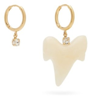 Simone Rocha Mismatched Tooth & Crystal Hoop Earrings - Pearl