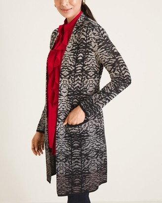 Chico's Ombre-Print Open-Front Maxi Cardigan