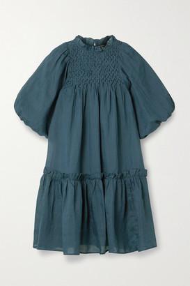 Sea Geneva Smocked Ruffled Ramie Mini Dress - Midnight blue