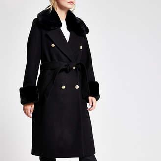 River Island Petite black faux fur collar tie waist coat