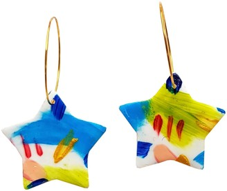 Abstract Colourful Hand Painted Lightweight Clay Earrings - Stars