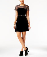 Jessica Simpson Belted Velvet Lace-Trim Dress