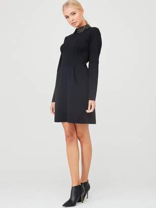 Ted Baker Calliea Applique Collar Skater Dress - Black