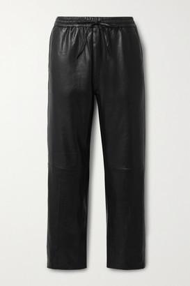 J Brand Amari Leather Straight-leg Pants - Black
