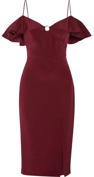 Cushnie et Ochs Blake Cold-shoulder Silk-georgette Dress - Merlot