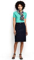 Classic Women's Petite Denim Skirt-Dark Indigo Wash
