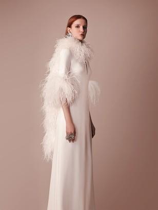 Elie Saab Long Cady Dress W/ Feather Details