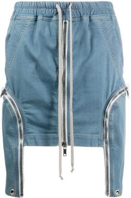 Rick Owens Zipped Drawstring-Waist Denim Skirt