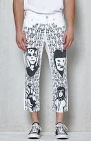 PacSun Slim Cropped White Graphic Jeans