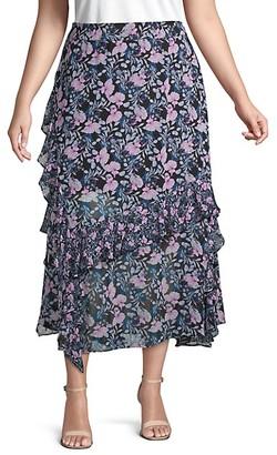 Vince Camuto Plus Botanical-Print Ruffled Midi Skirt