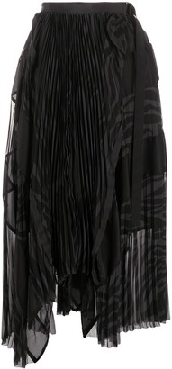 Sacai Two-Tone Pleated Skirt