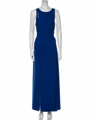Halston Crew Neck Long Dress Blue