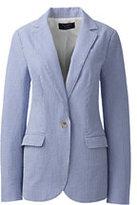 Classic Women's Petite Wear to Work Seersucker Blazer-Sail Blue Stripe