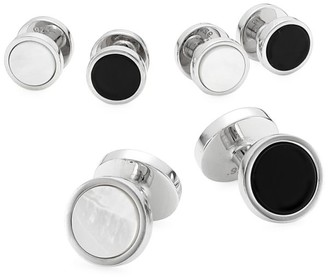 David Donahue Sterling Silver, Onyx & Mother-Of Pearl 3-Pair Cufflink Set