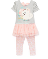 Children's Apparel Network Pink & Gray 'For a Kiss' Tee Set - Toddler