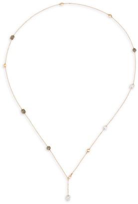 Pomellato Sabbia 18K Rose Gold & Tri-Color Diamond Station Lariat Necklace