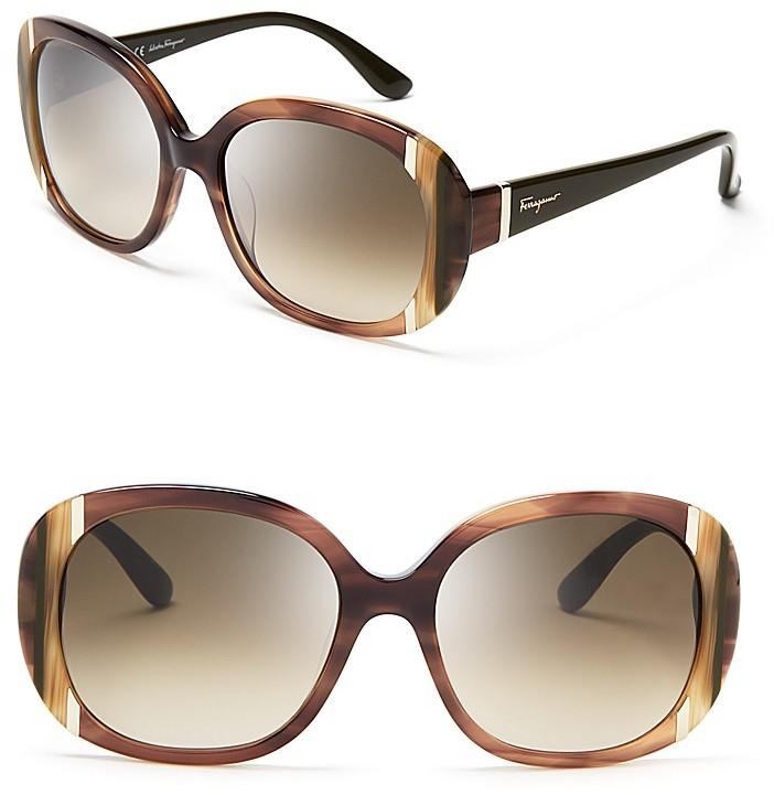 Salvatore Ferragamo Classic Striped Oversized Sunglasses, 55mm