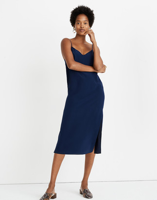 Madewell Petite Silk Eva Side-Slit Slip Dress