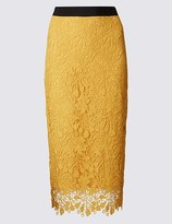 Marks and Spencer Floral Lace Waistband Pencil Midi Skirt