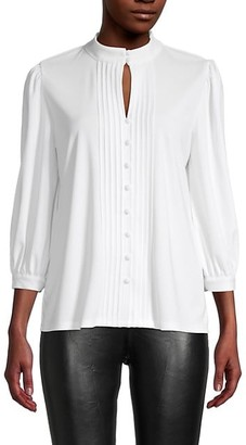 Karl Lagerfeld Paris Pleated Keyhole Top