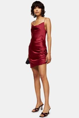 Topshop Red Satin Ruched Mini Slip Dress