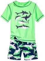 Carter's 2-Pc. Shark-Print Rashguard & Swim Trunks Set, Toddler & Little Boys (2T-7)