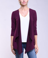 Lbisse Women's Open Cardigans Burgundy - Burgundy Drape-Front Three-Quarter Sleeve Open Cardigan - Women