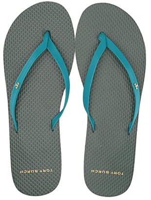 Tory Burch Leather Flip-Flop (Deep Aqua/Multi) Women's Shoes