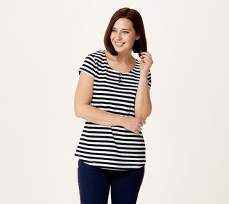 Denim & Co. Striped Knit Gauze Scoop Neck Henley Top