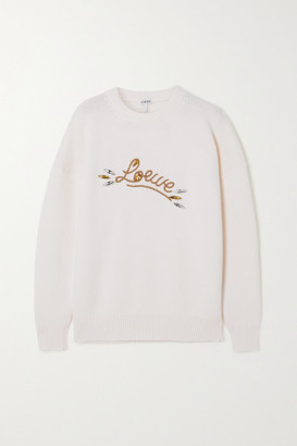 Loewe Crystal-embellished Embroidered Wool Sweater - White