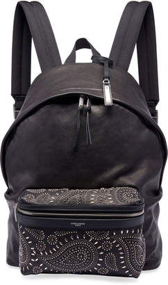 Saint Laurent Men's City Studded Leather Backpack