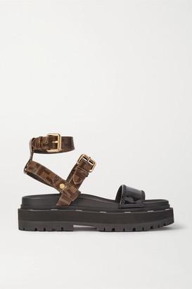 Fendi Logo-print Coated-canvas And Patent-leather Platform Sandals - Black